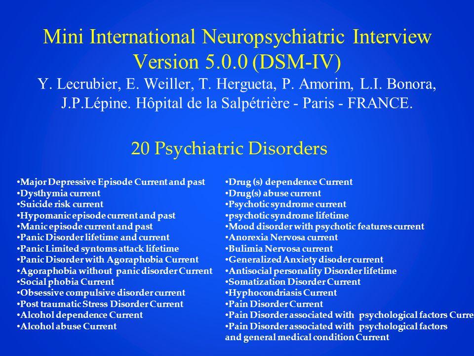 Mini International Neuropsychiatric Interview Version 5.0.0 (DSM-IV) Y. Lecrubier, E. Weiller, T. Hergueta, P. Amorim, L.I. Bonora, J.P.Lépine. Hôpita