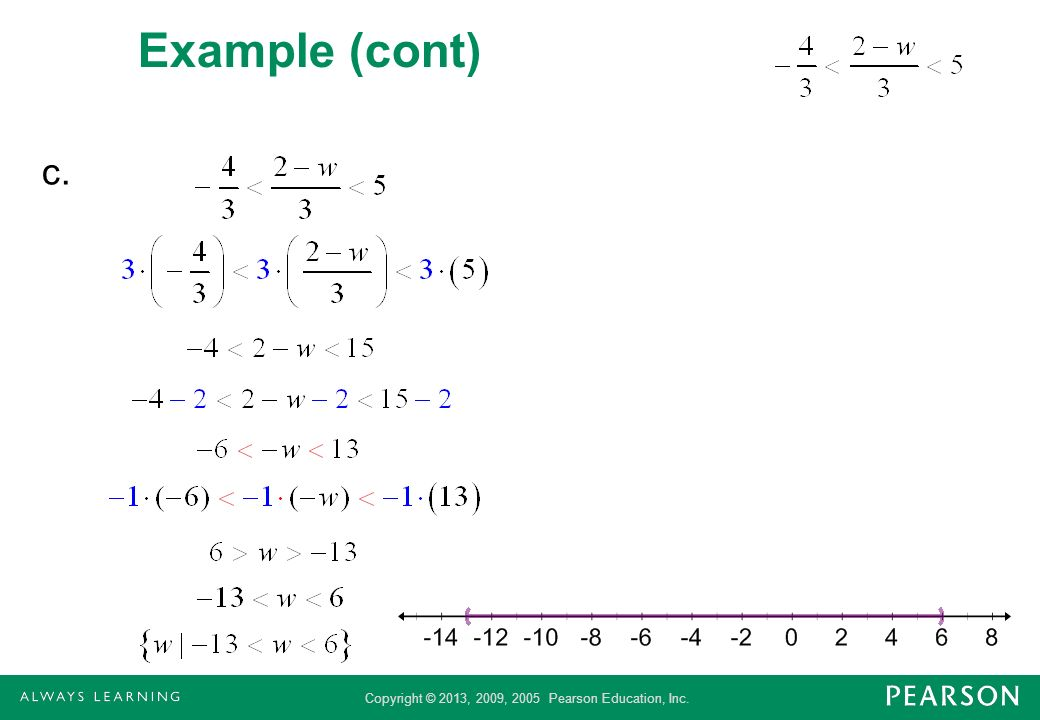 Copyright © 2013, 2009, 2005 Pearson Education, Inc. Example Solve x + 3 2 Solution x + 3 2 x –1