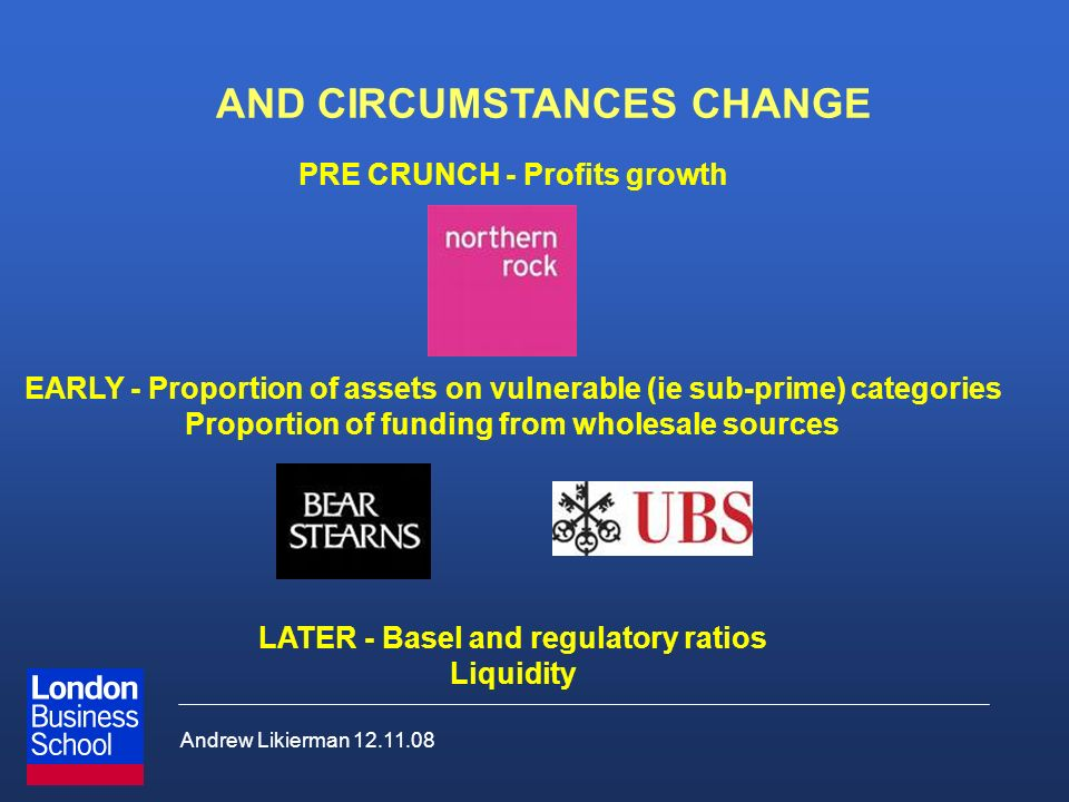 Andrew Likierman 12.11.08 PRE CRUNCH - Profits growth EARLY - Proportion of assets on vulnerable (ie sub-prime) categories Proportion of funding from wholesale sources LATER - Basel and regulatory ratios Liquidity AND CIRCUMSTANCES CHANGE