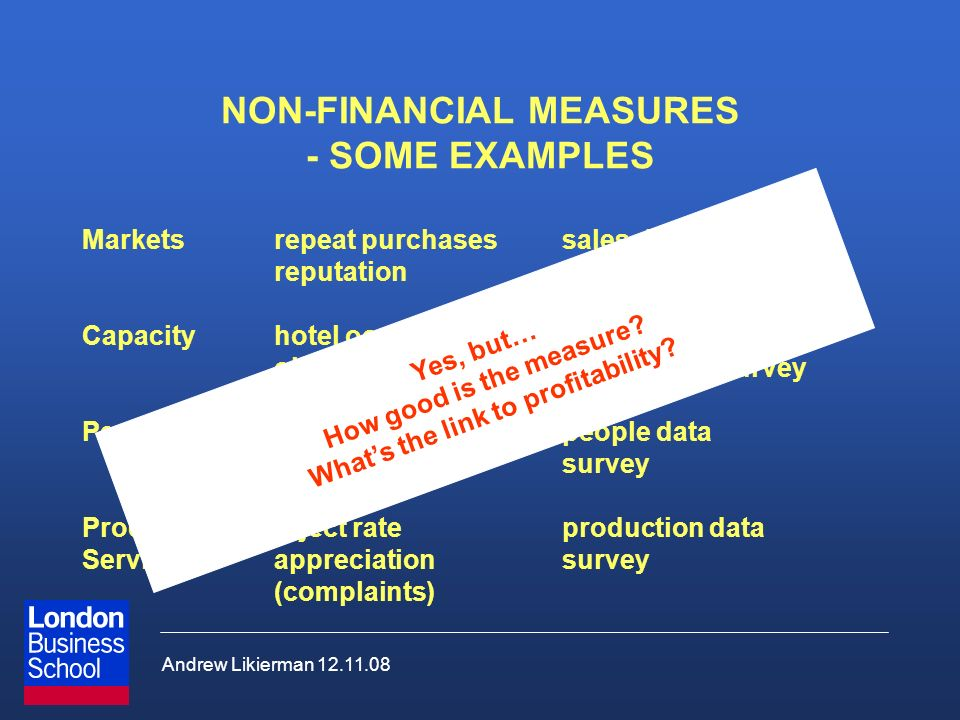 Andrew Likierman 12.11.08 NON-FINANCIAL MEASURES - SOME EXAMPLES Marketsrepeat purchasessales data reputationsurvey Capacityhotel occupancy rateroom d