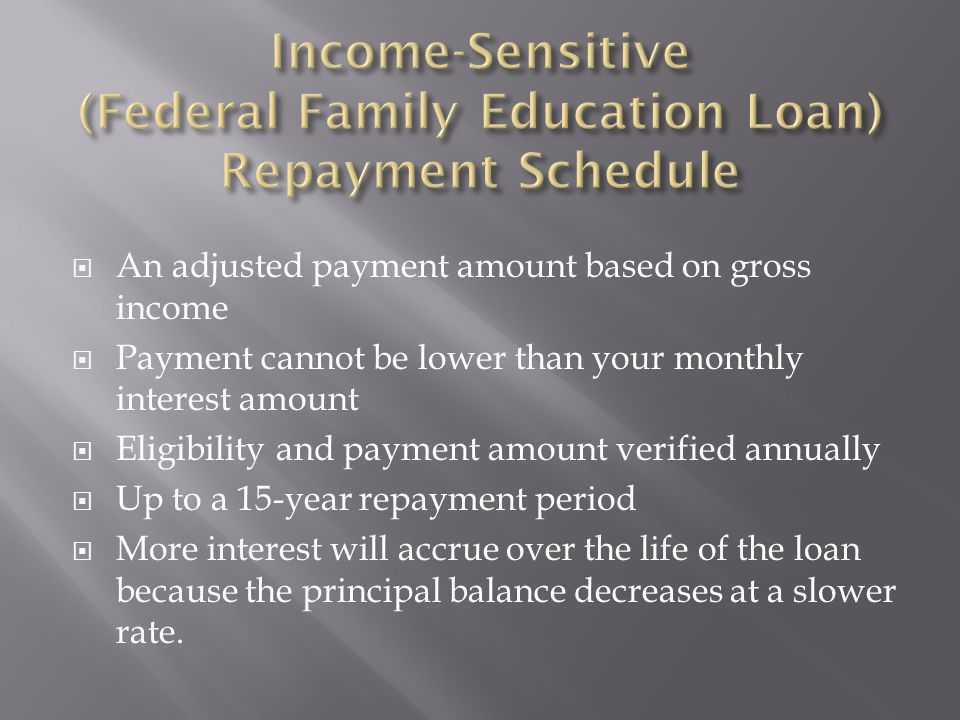An adjusted payment amount based on gross income Payment cannot be lower than your monthly interest amount Eligibility and payment amount verified annually Up to a 15-year repayment period More interest will accrue over the life of the loan because the principal balance decreases at a slower rate.