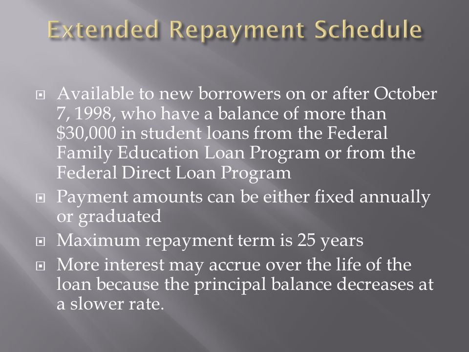 Available to new borrowers on or after October 7, 1998, who have a balance of more than $30,000 in student loans from the Federal Family Education Loan Program or from the Federal Direct Loan Program Payment amounts can be either fixed annually or graduated Maximum repayment term is 25 years More interest may accrue over the life of the loan because the principal balance decreases at a slower rate.