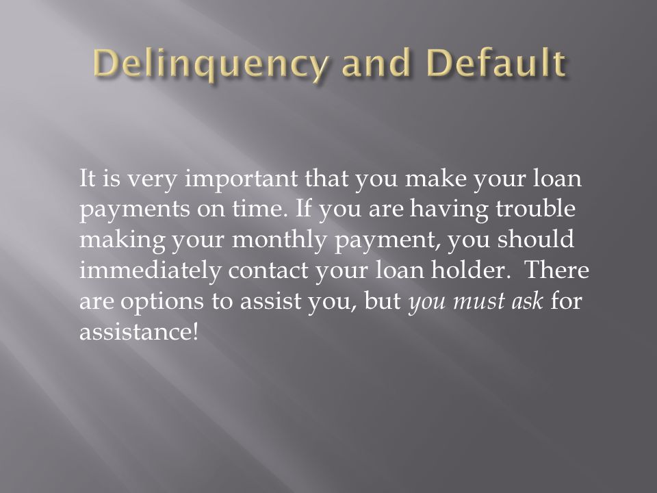 It is very important that you make your loan payments on time.