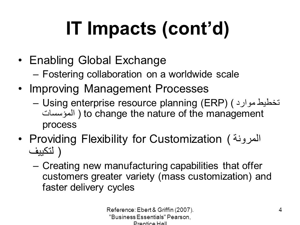 5 IT Impacts (contd) Providing New Business Opportunities –Creating entirely new businesses where none existed before (ex: ebay.com) Improving the World and Our Lives –Advancing medical and diagnostic techniques (أساليب التشخيص ) Reference: Ebert & Griffin (2007).