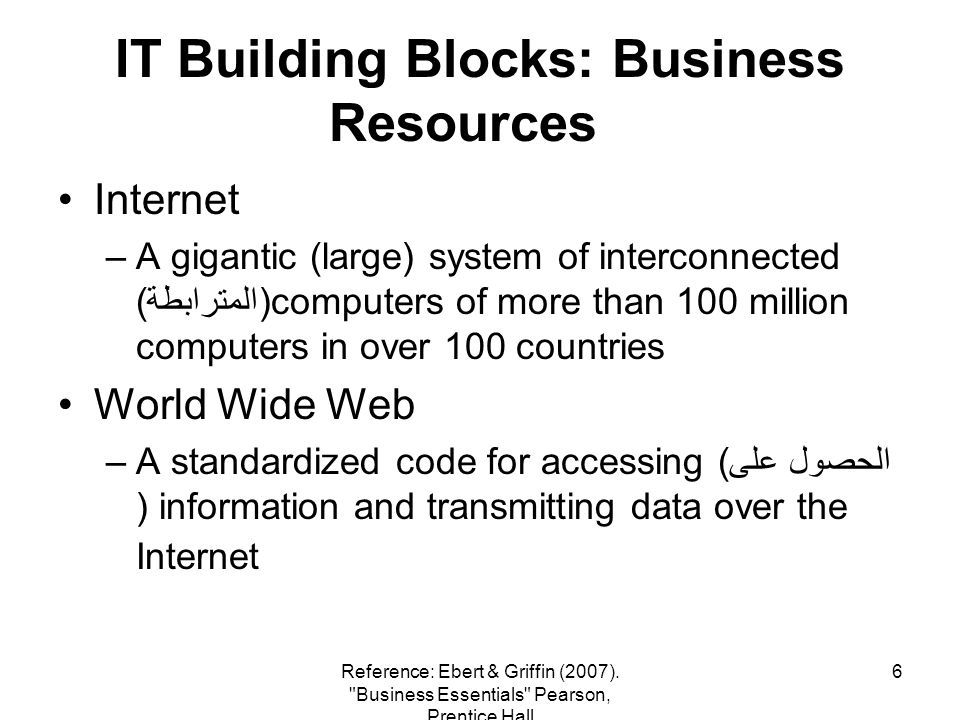 6 IT Building Blocks: Business Resources Internet –A gigantic (large) system of interconnected (المترابطة)computers of more than 100 million computers in over 100 countries World Wide Web –A standardized code for accessing (الحصول على ) information and transmitting data over the Internet Reference: Ebert & Griffin (2007).