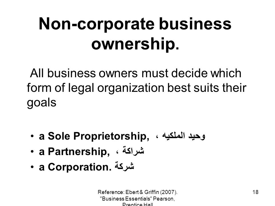 18 Non-corporate business ownership. All business owners must decide which form of legal organization best suits their goals a Sole Proprietorship, وح