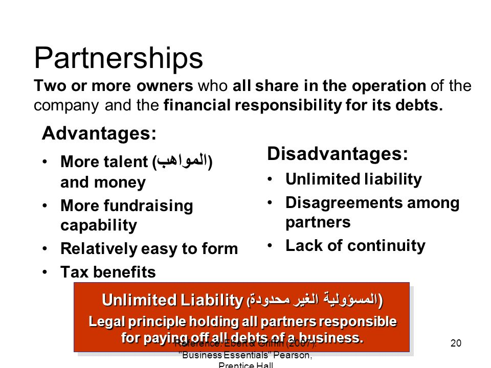 Partnerships Two or more owners who all share in the operation of the company and the financial responsibility for its debts. Advantages: More talent