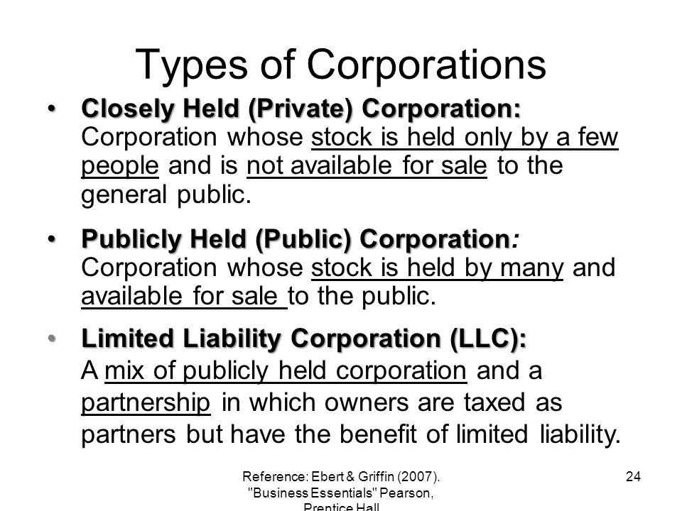 Types of Corporations Closely Held (Private) Corporation:Closely Held (Private) Corporation: Corporation whose stock is held only by a few people and