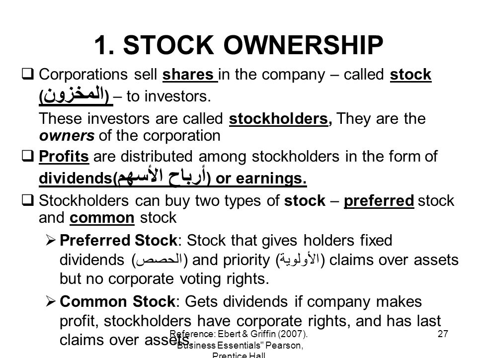 27 1. STOCK OWNERSHIP Corporations sell shares in the company – called stock ( المخزون ) – to investors. These investors are called stockholders, They