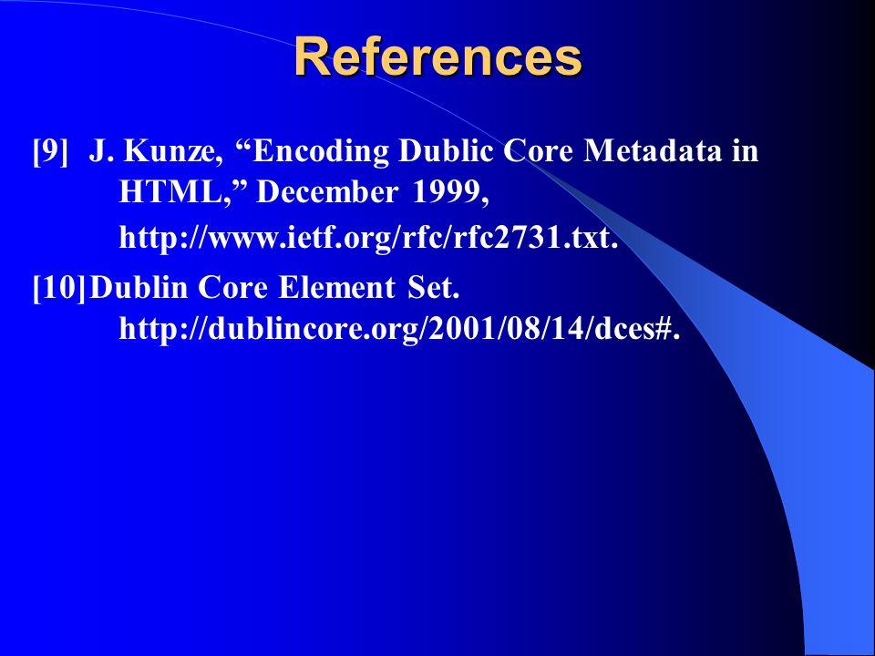 References [9]J. Kunze, Encoding Dublic Core Metadata in HTML, December 1999, http://www.ietf.org/rfc/rfc2731.txt. [10]Dublin Core Element Set. http:/