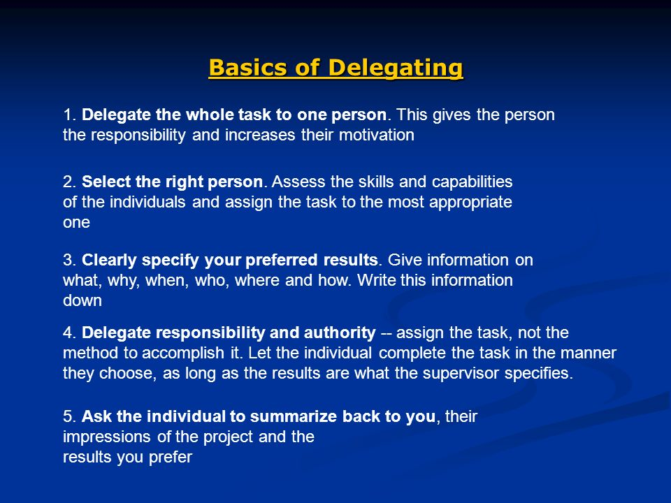 Basics of Delegating 1. Delegate the whole task to one person.