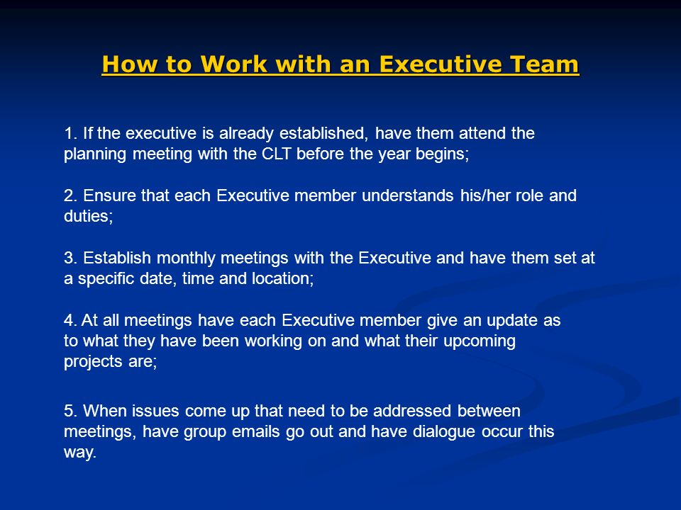 How to Work with an Executive Team 1.