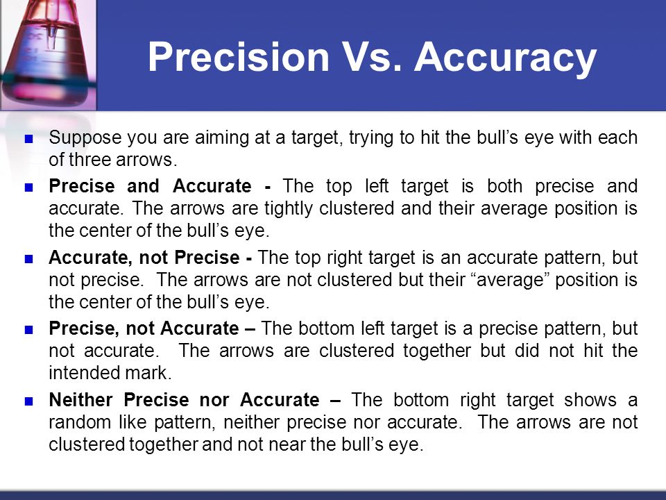 Precision Vs. Accuracy Suppose you are aiming at a target, trying to hit the bulls eye with each of three arrows. Precise and Accurate - The top left