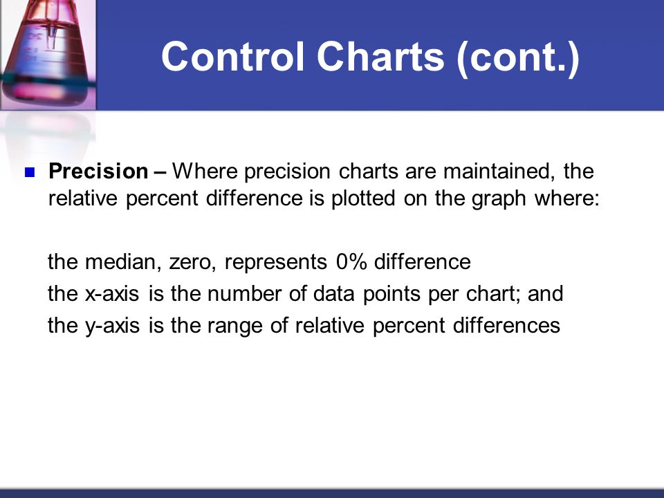 Control Charts (cont.) Precision – Where precision charts are maintained, the relative percent difference is plotted on the graph where: the median, z