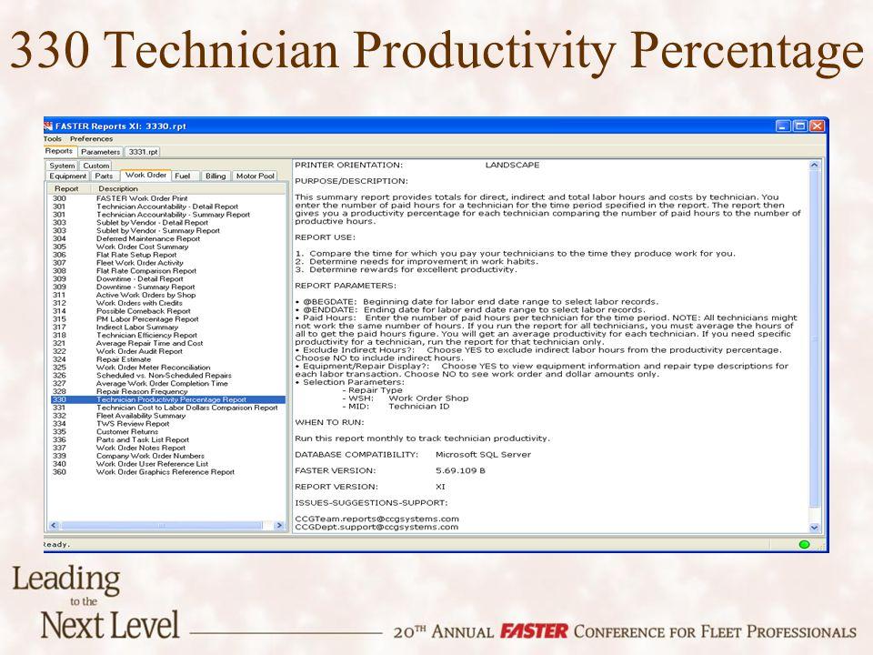 330 Technician Productivity Percentage