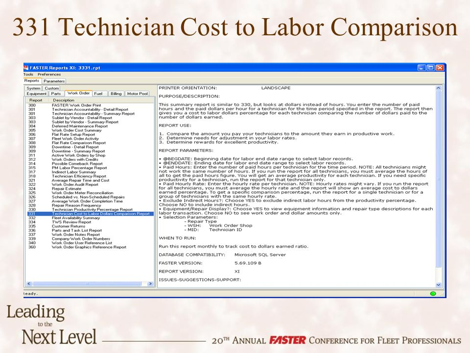 331 Technician Cost to Labor Comparison