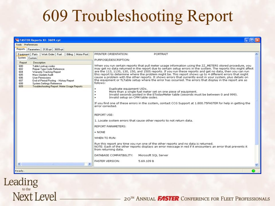 609 Troubleshooting Report