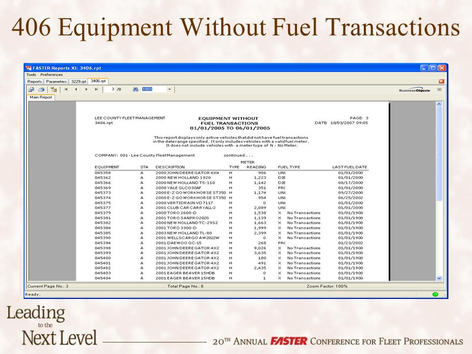 406 Equipment Without Fuel Transactions