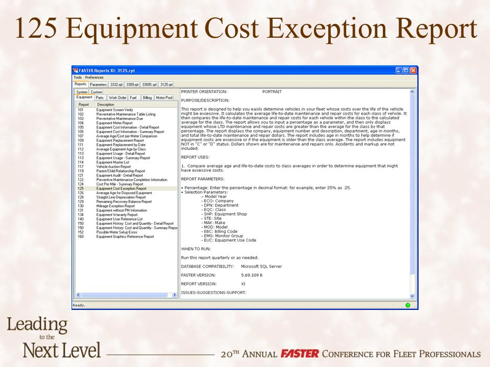 125 Equipment Cost Exception Report