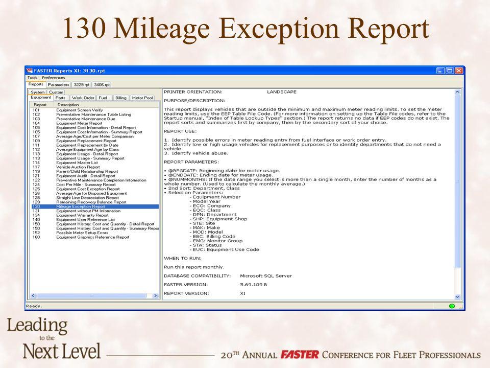 130 Mileage Exception Report