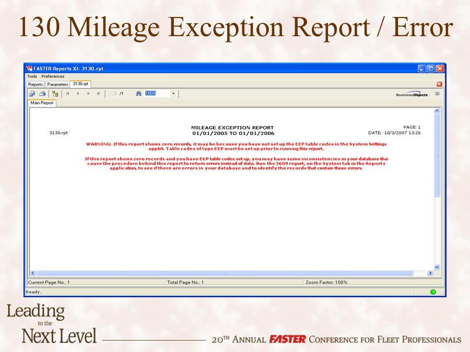 130 Mileage Exception Report / Error