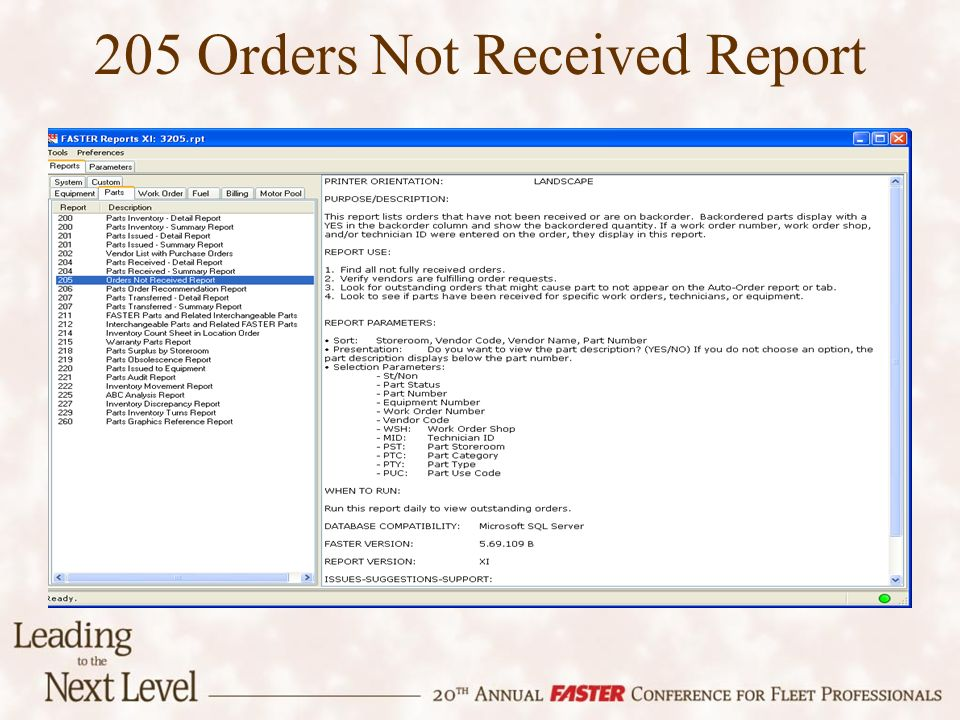 205 Orders Not Received Report