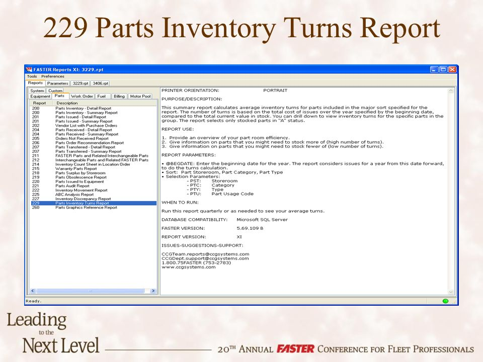 229 Parts Inventory Turns Report