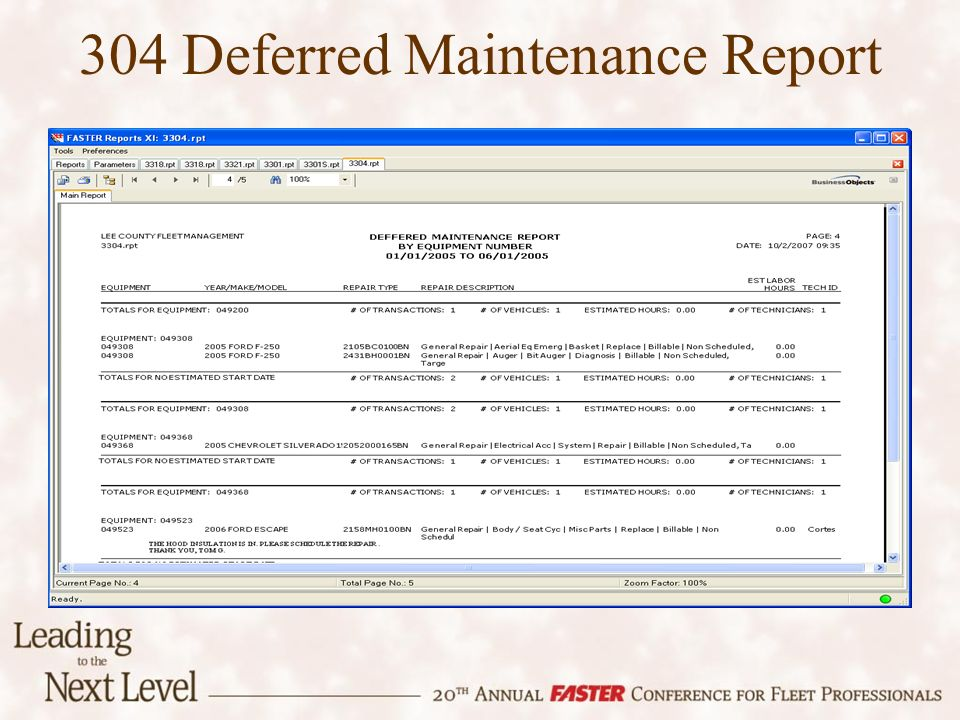 304 Deferred Maintenance Report