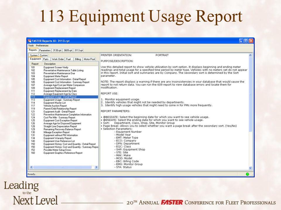 113 Equipment Usage Report