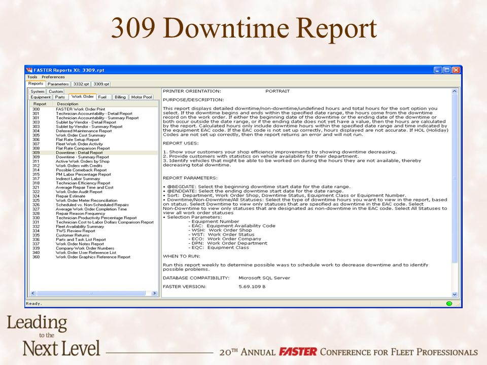 309 Downtime Report
