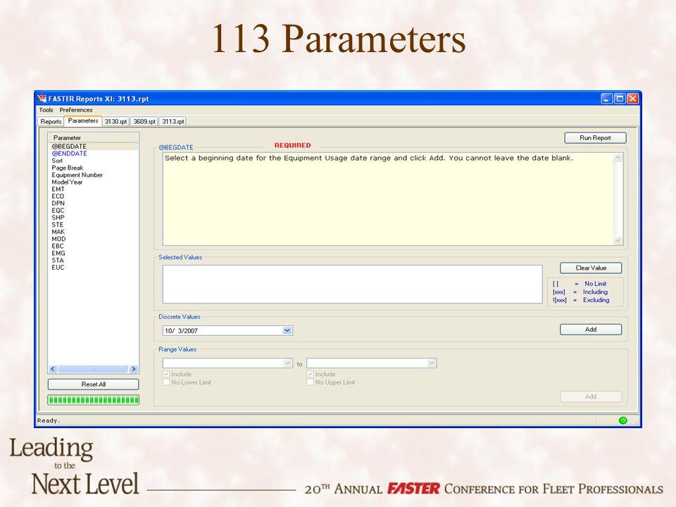 113 Parameters