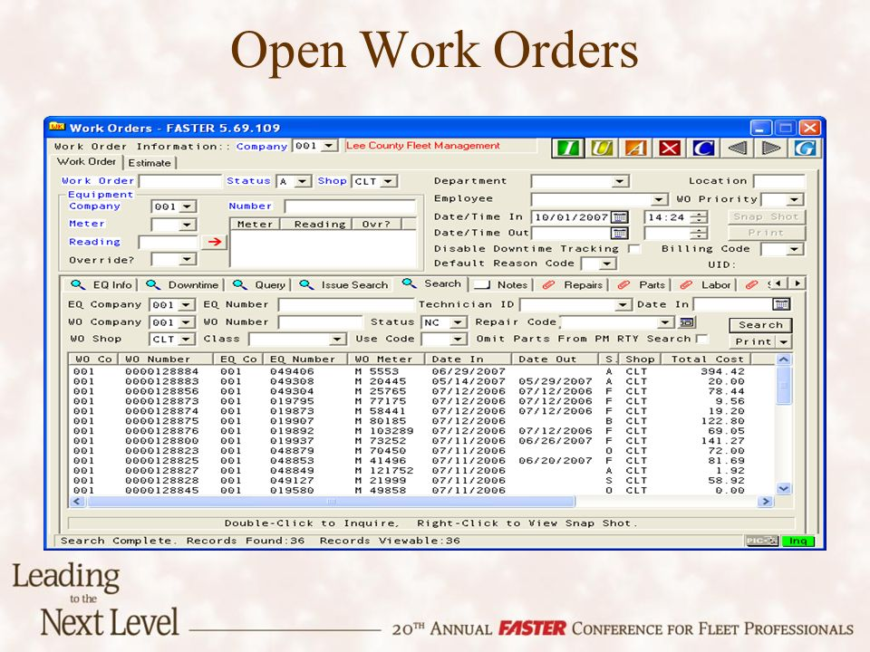 Open Work Orders