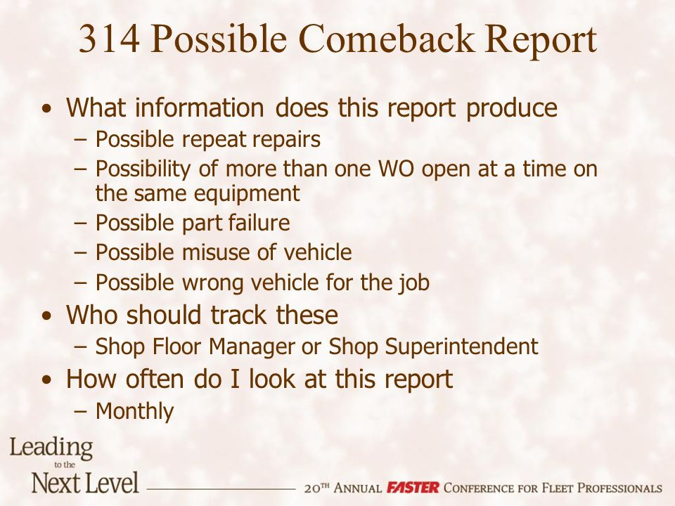 314 Possible Comeback Report What information does this report produce –Possible repeat repairs –Possibility of more than one WO open at a time on the