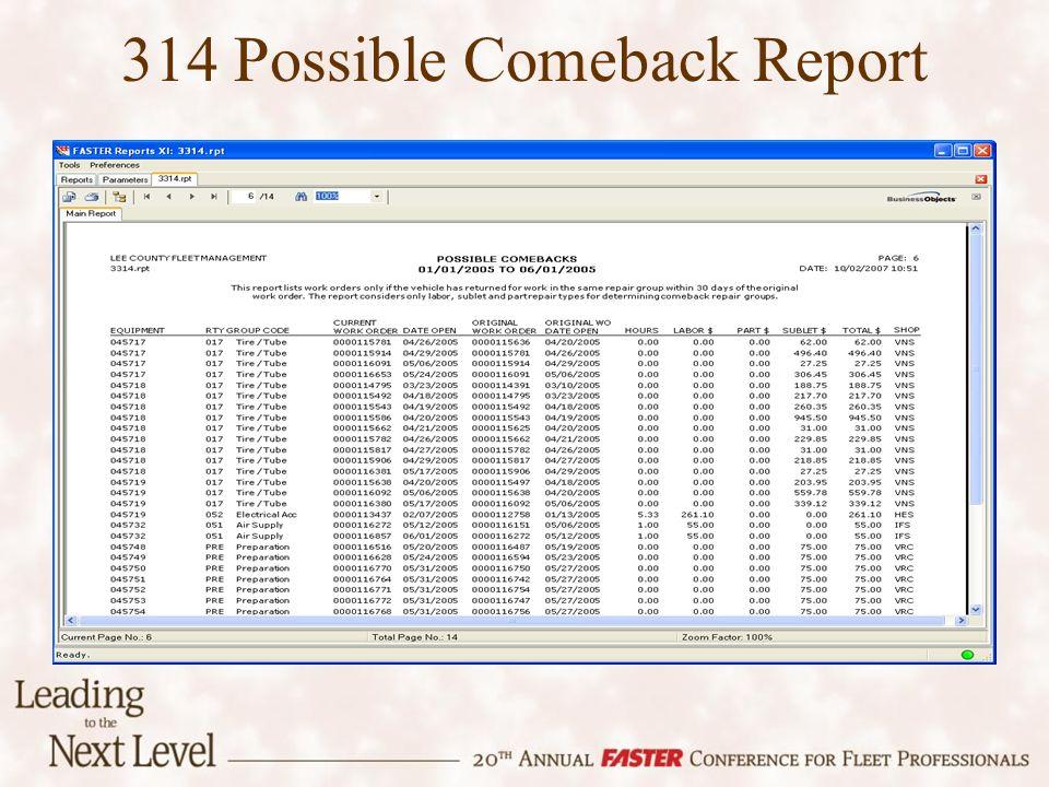 314 Possible Comeback Report