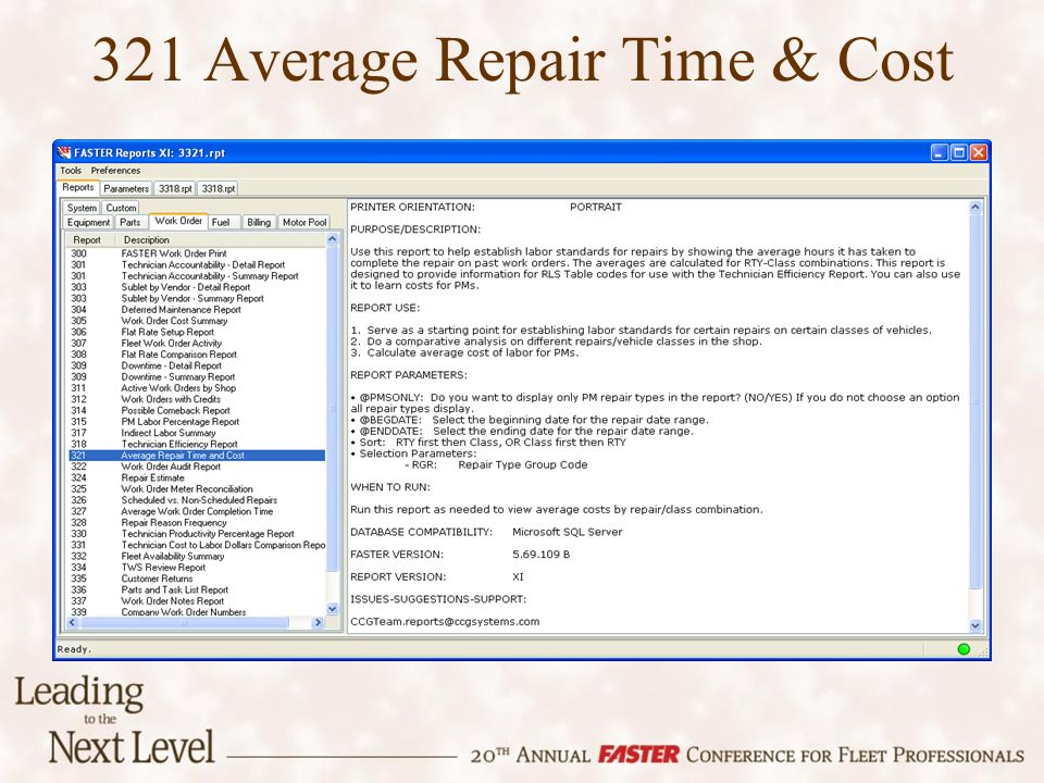 321 Average Repair Time & Cost