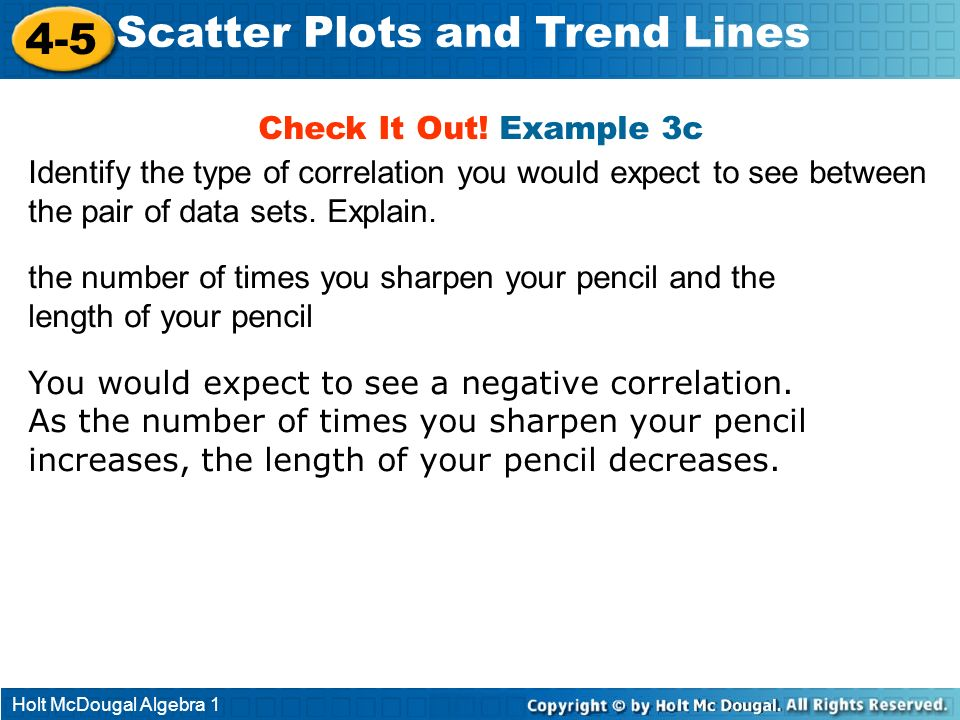 Holt McDougal Algebra 1 4-5 Scatter Plots and Trend Lines the number of times you sharpen your pencil and the length of your pencil You would expect t