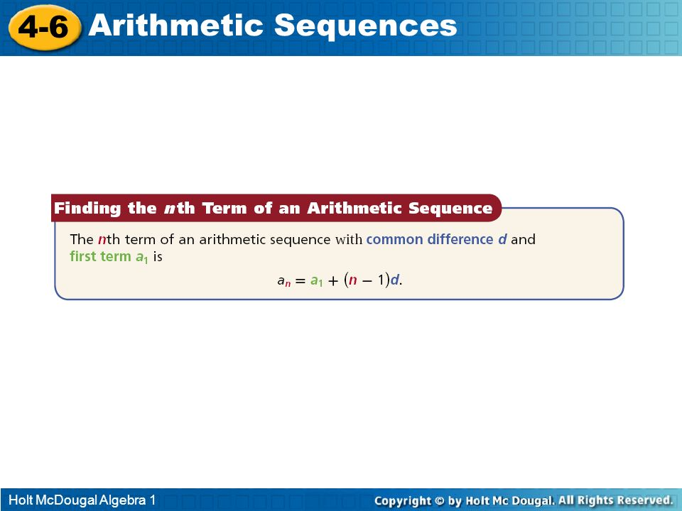 Holt McDougal Algebra 1 4-6 Arithmetic Sequences