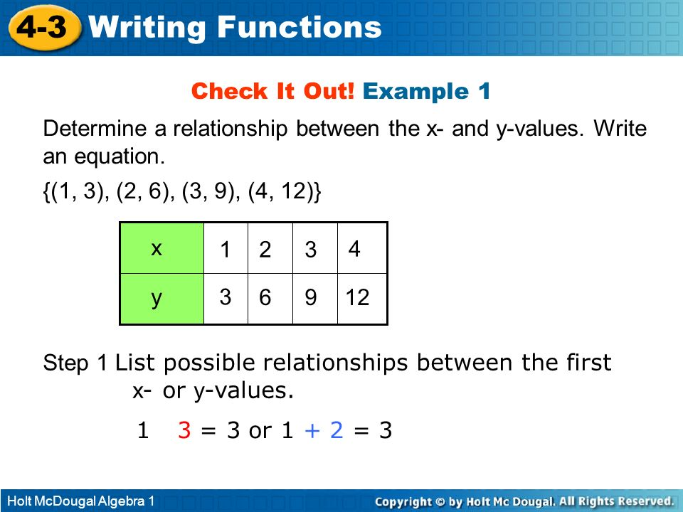 Holt McDougal Algebra 1 4-3 Writing Functions Check It Out! Example 1 Determine a relationship between the x- and y-values. Write an equation. {(1, 3)