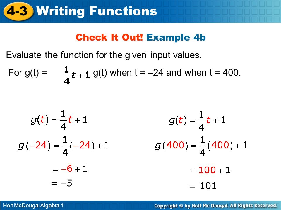 Holt McDougal Algebra 1 4-3 Writing Functions Check It Out! Example 4b Evaluate the function for the given input values. For g(t) =, find g(t) when t