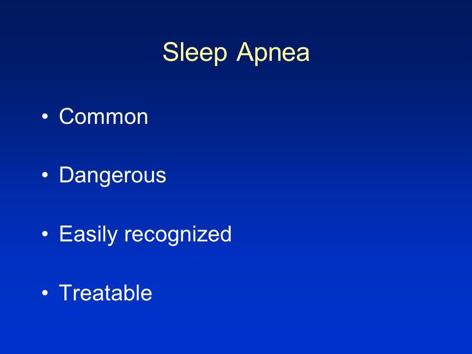 Sleep Apnea Common Dangerous Easily recognized Treatable
