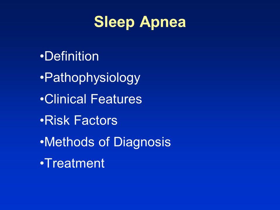 Sleep Apnea Definition Pathophysiology Clinical Features Risk Factors Methods of Diagnosis Treatment