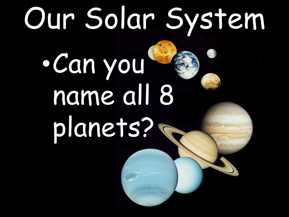 Can you name all 8 planets? Our Solar System