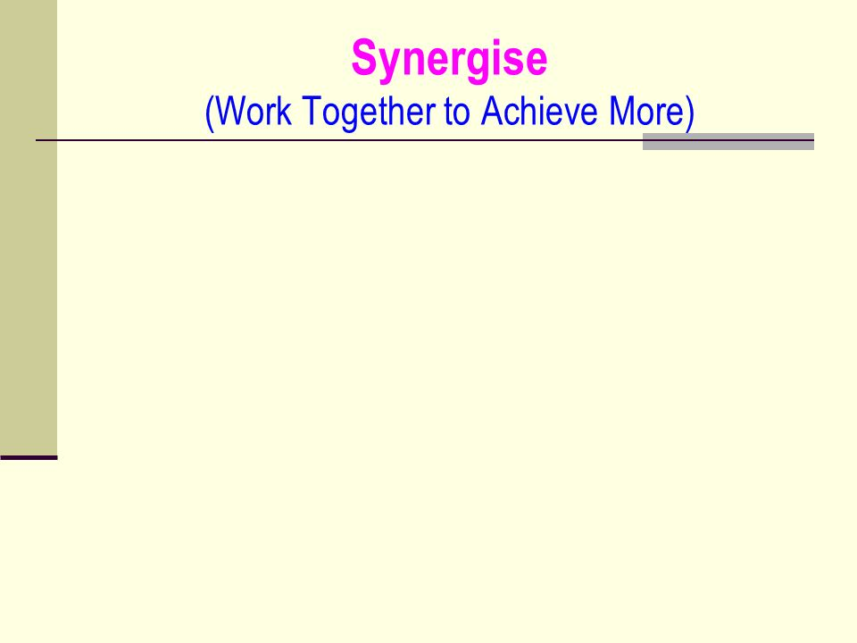 Synergise (Work Together to Achieve More)