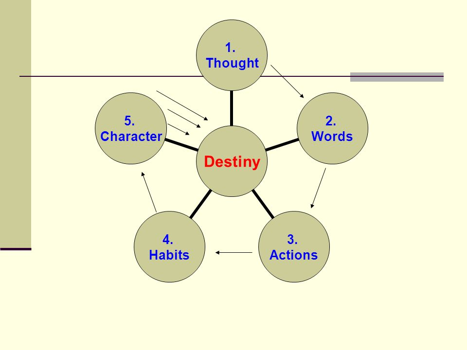 Destiny 1. Thought 2. Words 3. Actions 4. Habits 5. Character