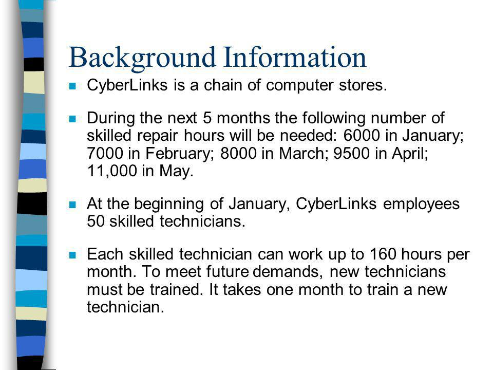 Background Information n CyberLinks is a chain of computer stores. n During the next 5 months the following number of skilled repair hours will be nee