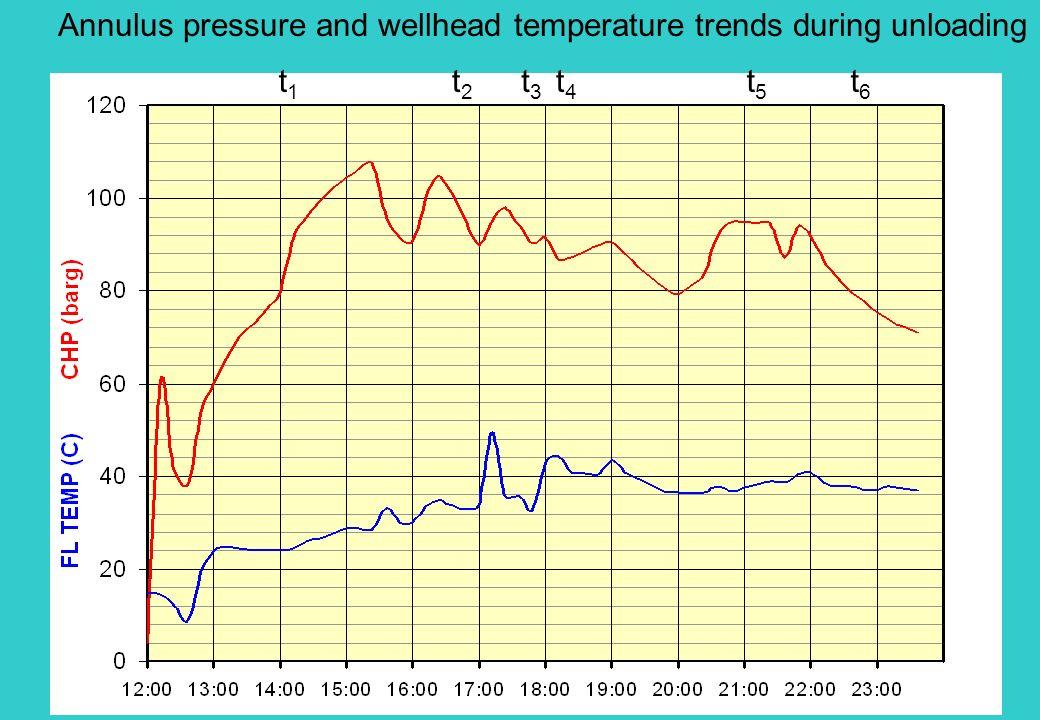 t1t1 t2t2 t3t3 t4t4 t5t5 t6t6 Annulus pressure and wellhead temperature trends during unloading