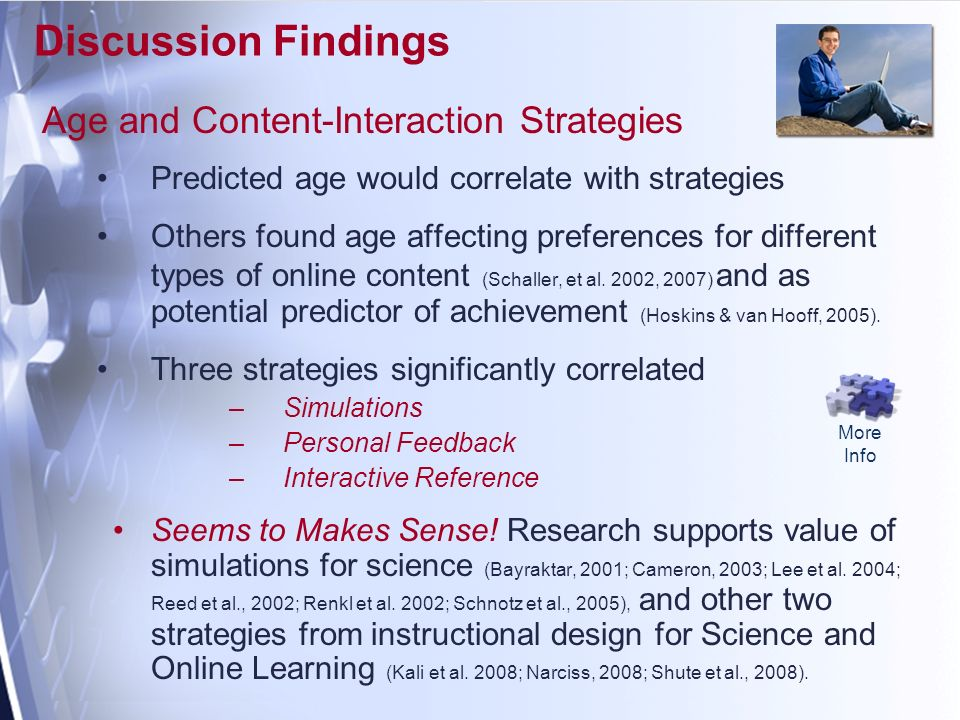 Discussion Findings Age and Content-Interaction Strategies Predicted age would correlate with strategies Others found age affecting preferences for different types of online content (Schaller, et al.