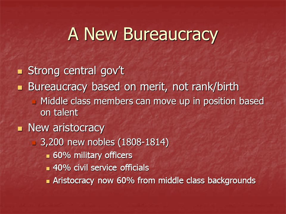 A New Bureaucracy Strong central govt Strong central govt Bureaucracy based on merit, not rank/birth Bureaucracy based on merit, not rank/birth Middle class members can move up in position based on talent Middle class members can move up in position based on talent New aristocracy New aristocracy 3,200 new nobles (1808-1814) 3,200 new nobles (1808-1814) 60% military officers 60% military officers 40% civil service officials 40% civil service officials Aristocracy now 60% from middle class backgrounds Aristocracy now 60% from middle class backgrounds