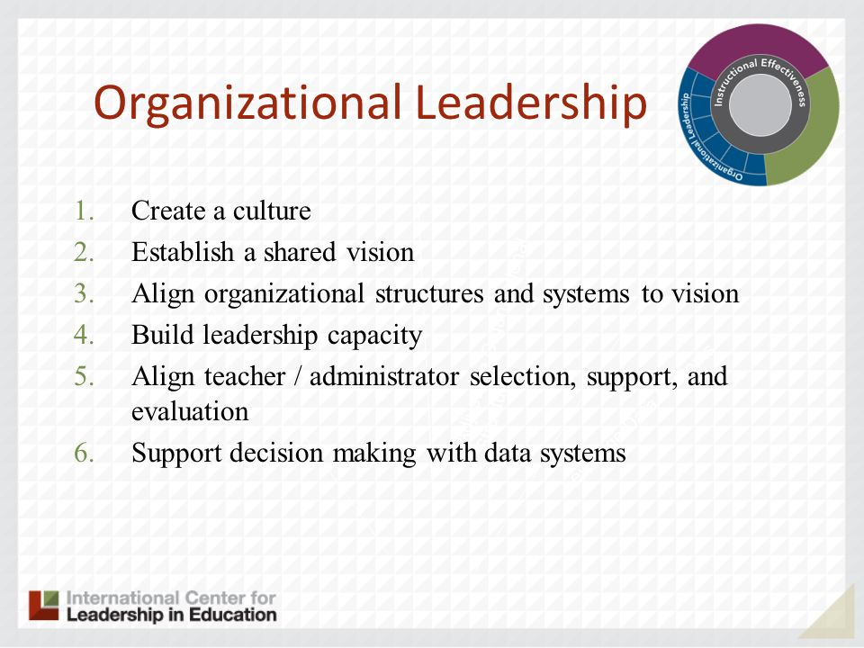 Adjust the Organizational Structure Leverage Data Systems Organizational Leadership 1.Create a culture 2.Establish a shared vision 3.Align organizational structures and systems to vision 4.Build leadership capacity 5.Align teacher / administrator selection, support, and evaluation 6.Support decision making with data systems