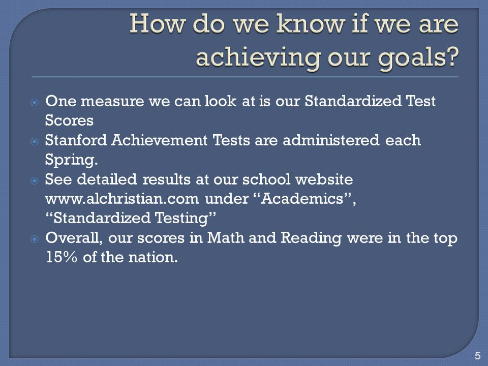 One measure we can look at is our Standardized Test Scores Stanford Achievement Tests are administered each Spring.
